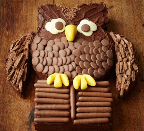 Creative Chocolate Button Cakes DIY Ideas - Chocolate Owl Cake