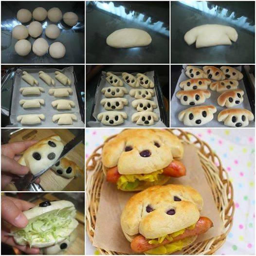 15 Creative DIY Ideas to Serve Hot Dogs --> Dog-Shaped Hot Dog Sandwich