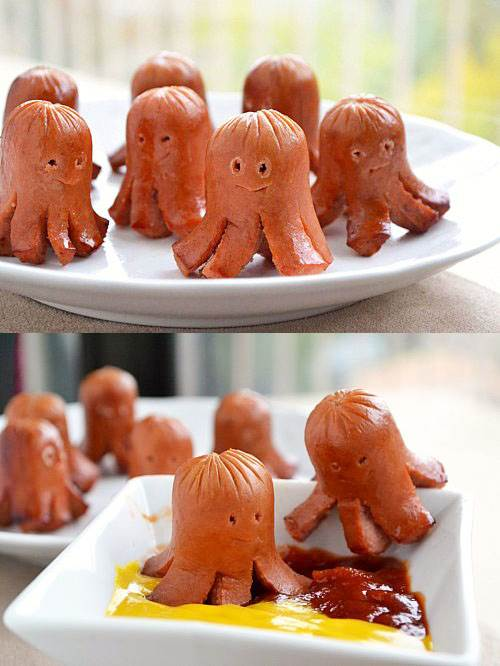 15 Creative DIY Ideas to Serve Hot Dogs --> Octopus Sausages