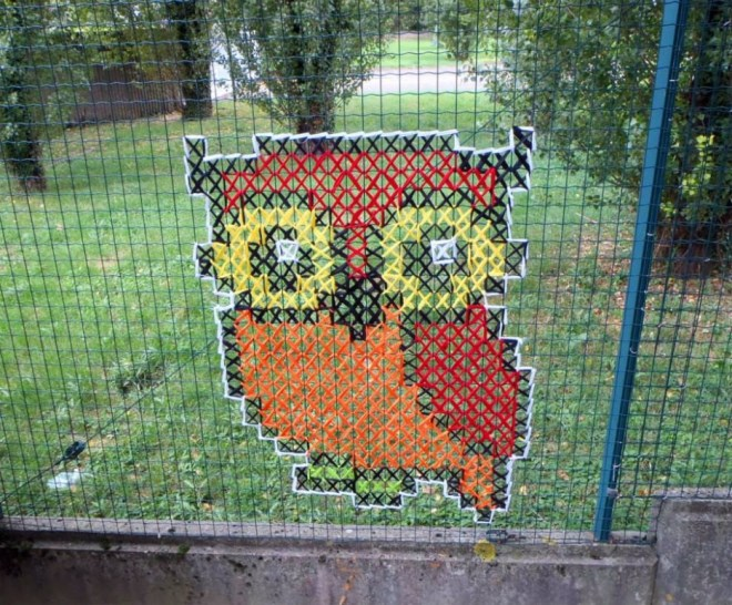 Creative Street Art Cross Stitch Murals On Fences
