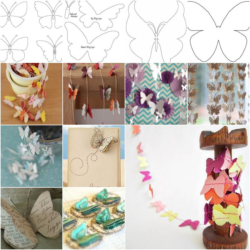 Diy beautiful butterfly decoration from templates for Butterflies for crafts and decoration
