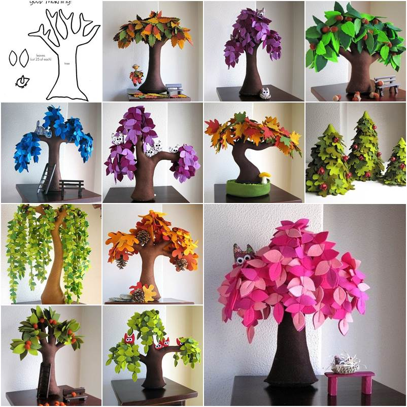 DIY Creative Handmade Felt Trees From Template