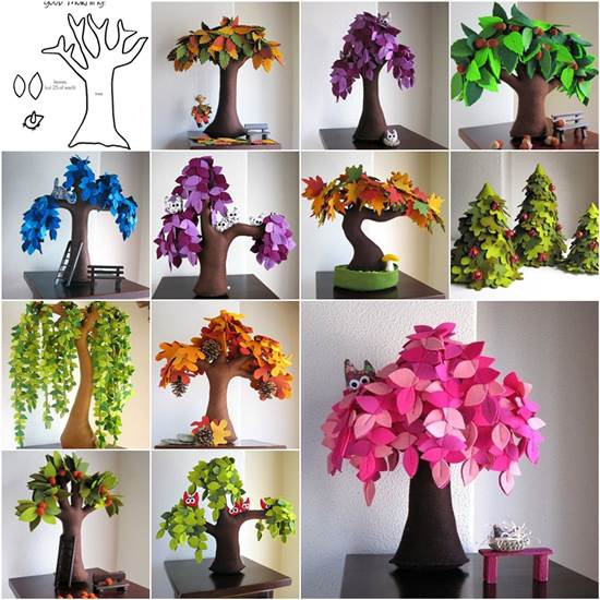 DIY Handmade Creative Felt Trees from Template