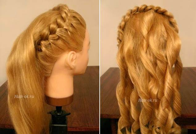 Elegant Hairstyle With Braids and Curls 3