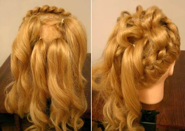 Elegant Hairstyle With Braids and Curls 4