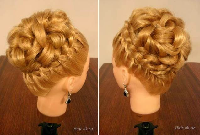 Elegant Hairstyle With Braids and Curls 6