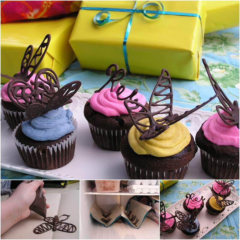 How to make chocolate butterfly cupcake decorations diy - How to make decorative cakes ...
