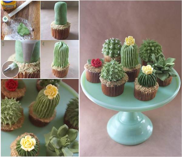 how to diy adorable succulent plant cupcakes