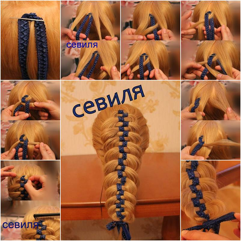 Diy Braided Hairstyles: How To DIY Checkerboard Braid Hairstyle With Ribbon