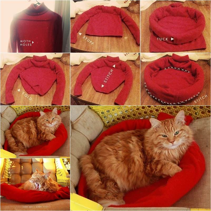How to DIY Cozy Cat Bed from Old Sweater thumb