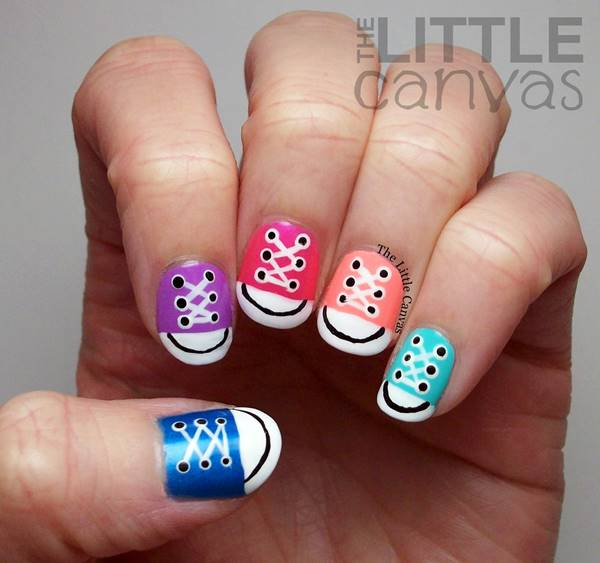 How To Diy Cute Converse Sneakers Nail Art