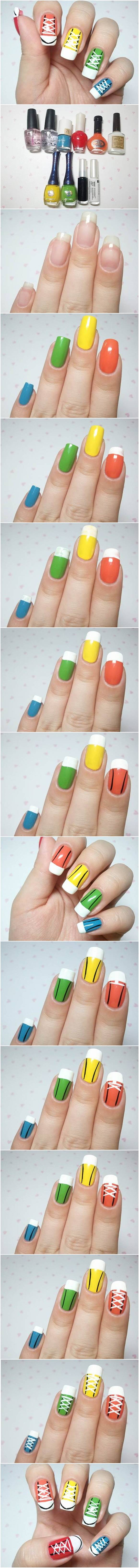 71d1eeb78ee9 How to DIY Cute Converse Sneakers Nail Art
