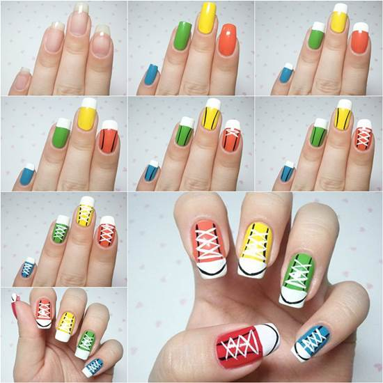 7ba83818425d77 How to DIY Cute Converse Sneakers Nail Art