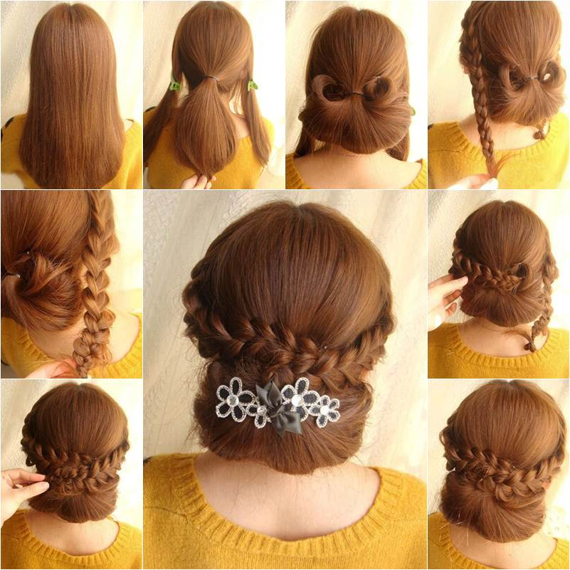 How To DIY Elegant Braids And Chignon Hairstyle - Hairstyle diy video