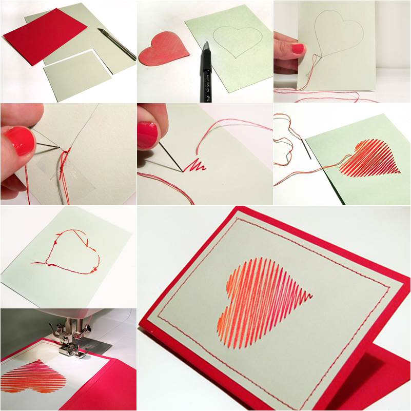 Creative Ideas For Making Greeting Cards Part - 19: How To DIY Embroidered Heart Greeting Card