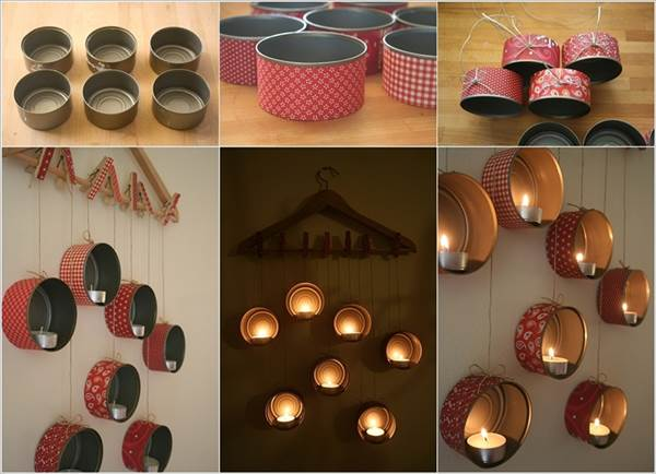 How to diy hanging tin can candle holder for Hanging candles diy