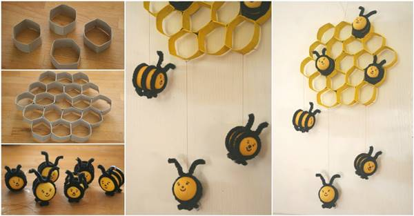 How To Diy Lovely Beehive And Bees Decoration From Toilet Paper Rolls