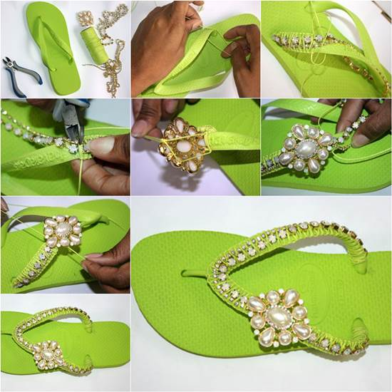 How to DIY Nice Decorated Flip Flops