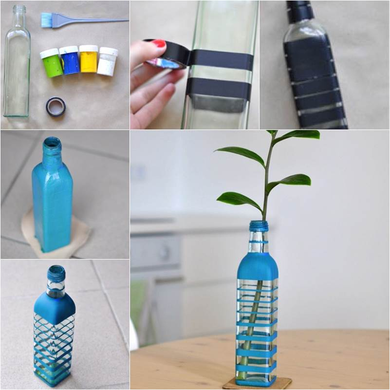 How to diy nice vase from recycled glass bottle for Pretty plastic bottles