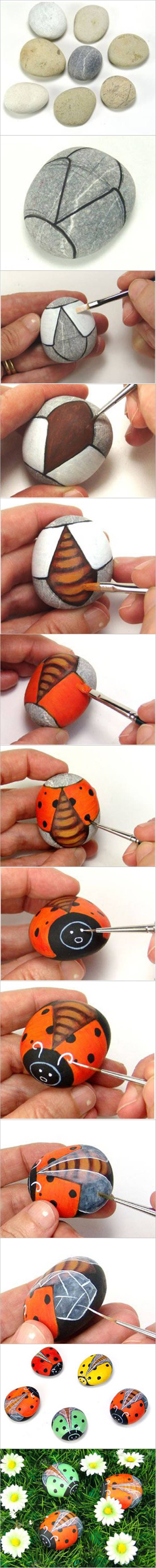 How to DIY Painted Pebble Ladybugs