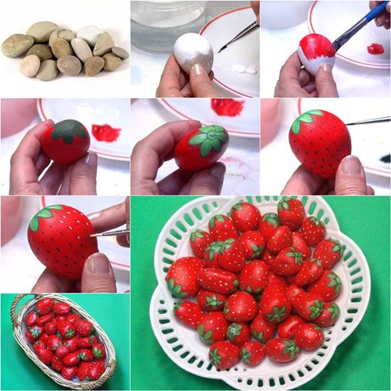 How to DIY Painted Rock Strawberries