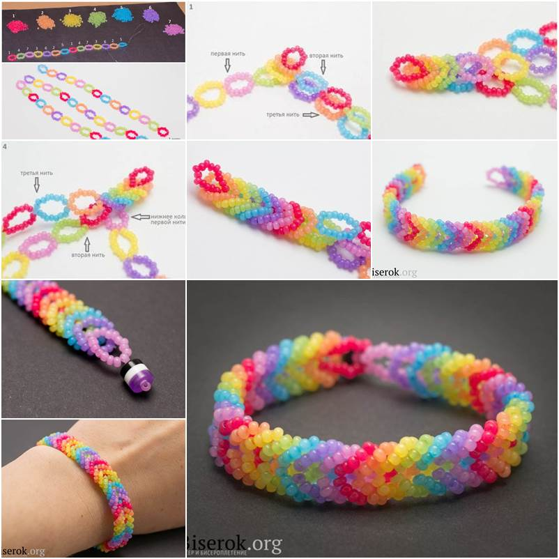 Diy stunning woven beaded necklace how to diy rainbow color woven beaded bracelet thumb solutioingenieria Images