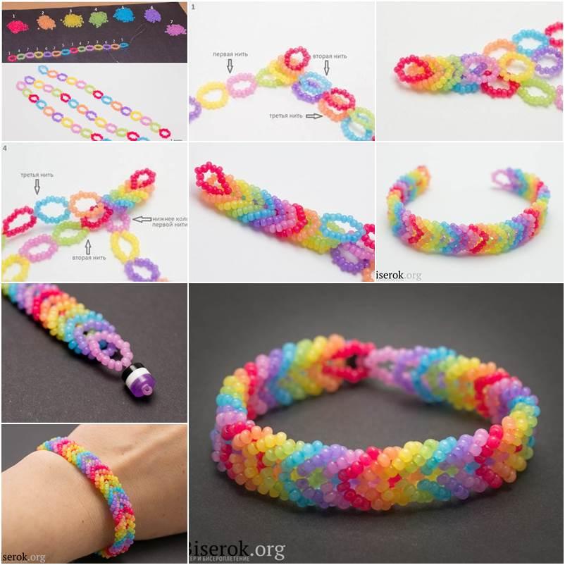 How to DIY Rainbow Color Woven Beaded Bracelet thumb