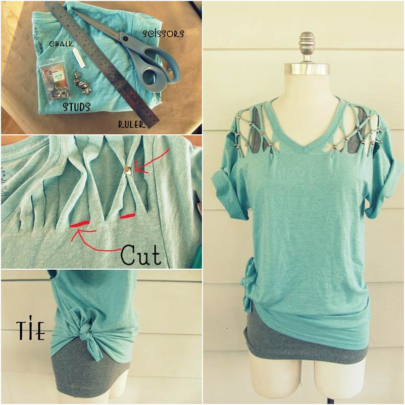 How to DIY Refashion a Basic Tee into a Lattice Stud T-shirt