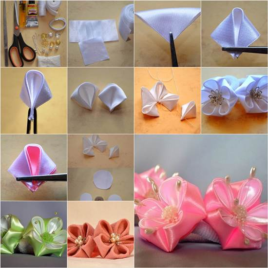 How To DIY Round Petals Ribbon Flower