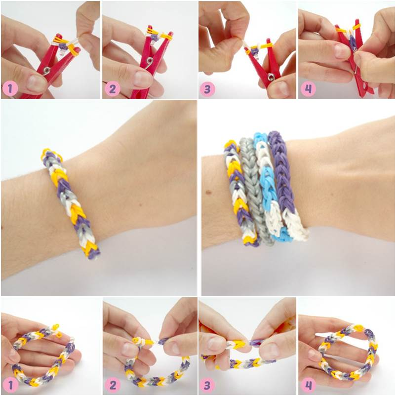 How To DIY Rubber Band Bracelet With A Clothespin
