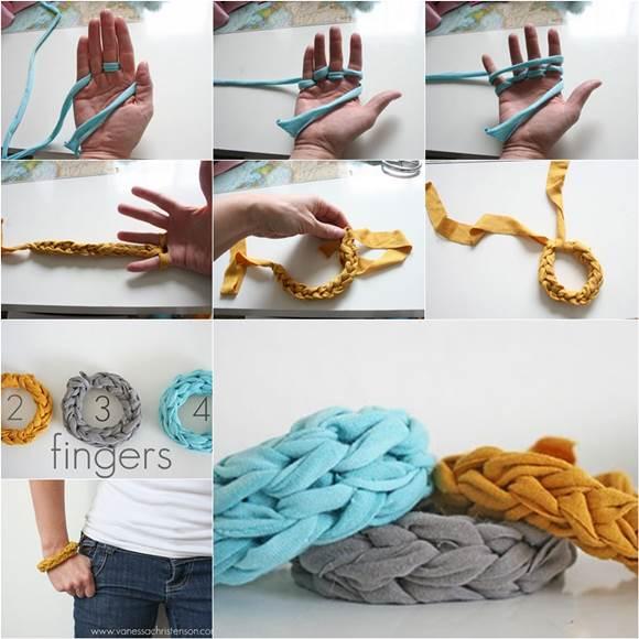 How to DIY Stylish Finger-Knitted Bracelet