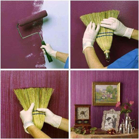 How to DIY Textured Painted Walls with a Grass Broom