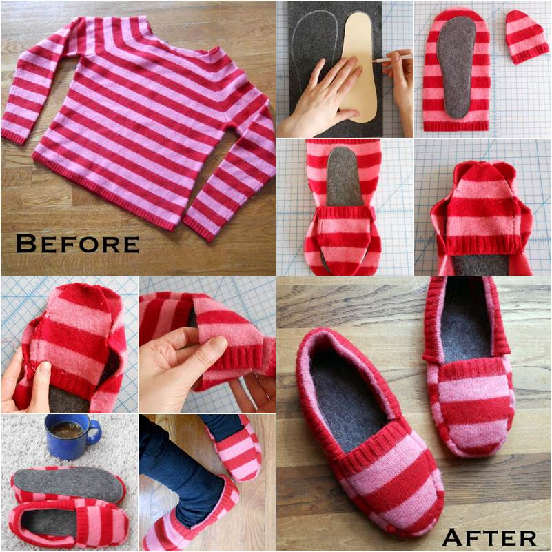 How to DIY Upcycle Old Sweater into Cozy Slippers thumb