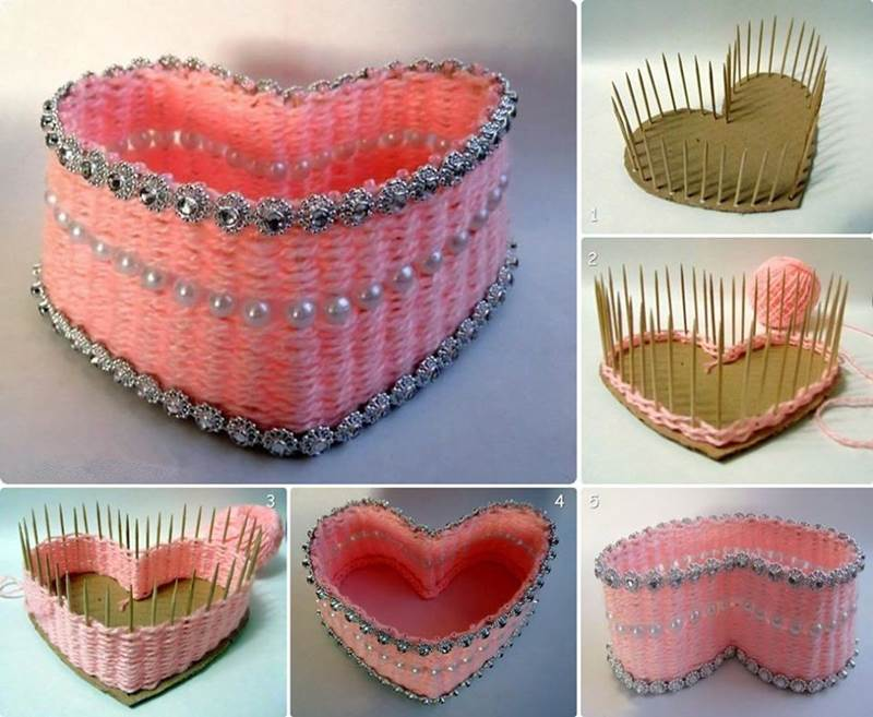 How To Make A Woven Heart Basket : How to diy yarn woven heart shaped basket