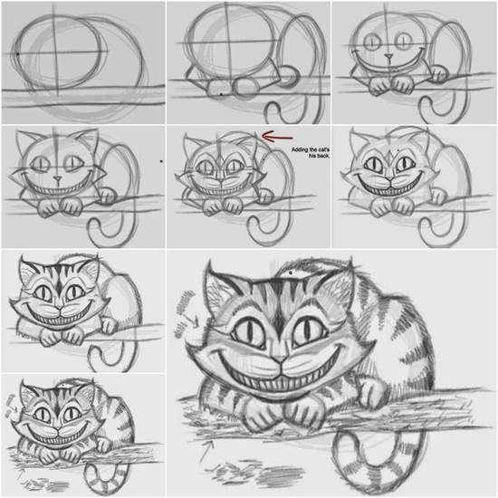 How To Draw The Cheshire Cat Easily