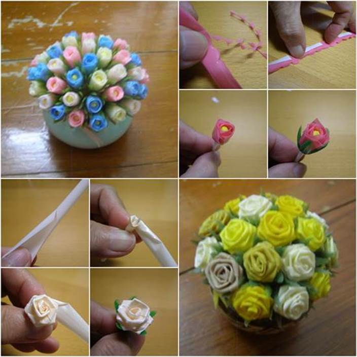 How to Make Beautiful Flowers from Drinking Straws DIY Tutorial
