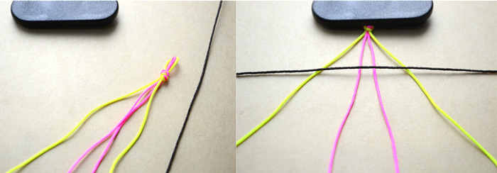 Making bracelets with 2 strings