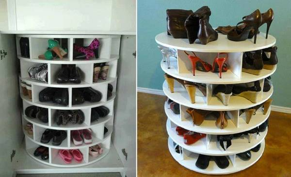 & How to Make Lazy Susan Style Shoe Storage Rack DIY Tutorial