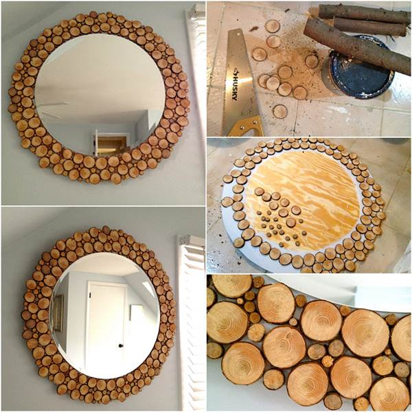 how to make wood slices decorated mirror diy tutorial - Decorate Mirror Frame