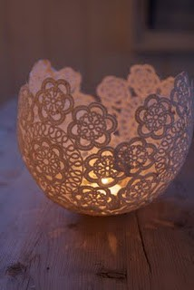 45+ Fun and Creative Ways to Use Balloons --> Use Balloon to Make Doily Candle Holder