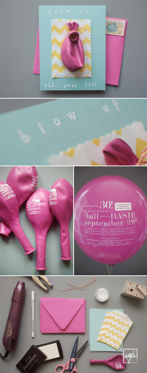 45+ Fun and Creative Ways to Use Balloons --> Balloon Invitation Card