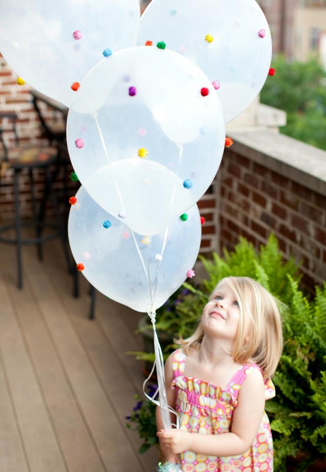 45+ Fun and Creative Ways to Use Balloons --> Pom-Pom Balloons!