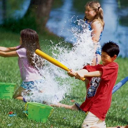 45+ Fun and Creative Ways to Use Balloons --> water Balloon Baseball