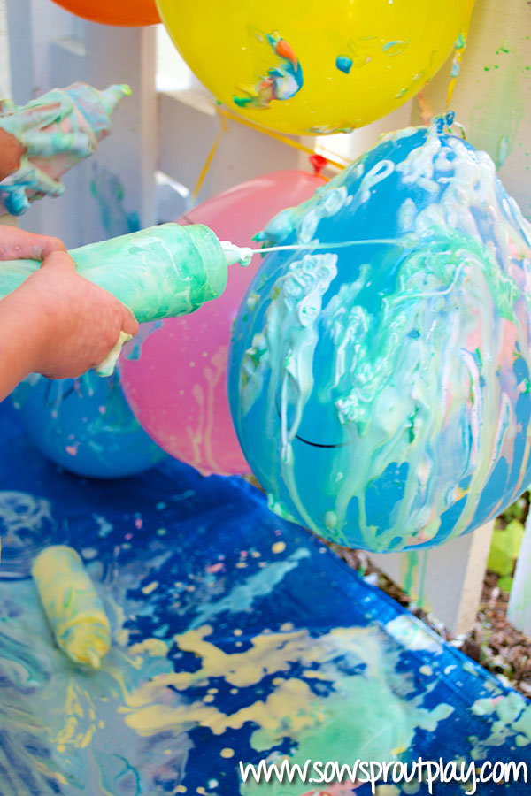 45+ Fun and Creative Ways to Use Balloons --> Painting Balloons with Colored Shaving Cream
