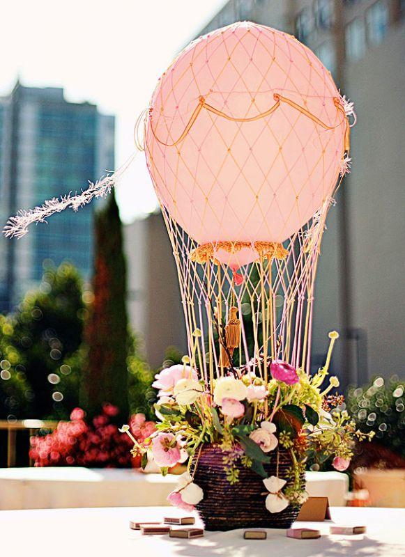 45+ Fun and Creative Ways to Use Balloons --> Hot Air Balloon Centerpiece