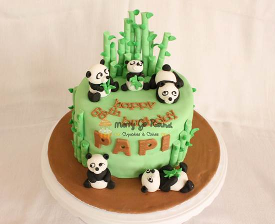 Panda in Bamboo Forest Cake