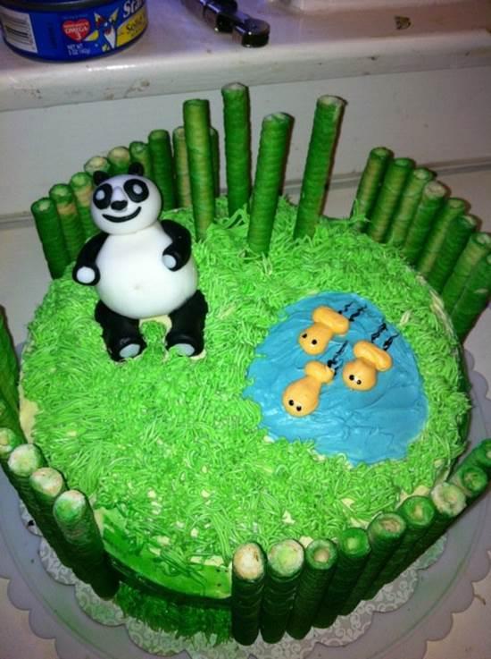 Creative Bamboo and Panda Cake