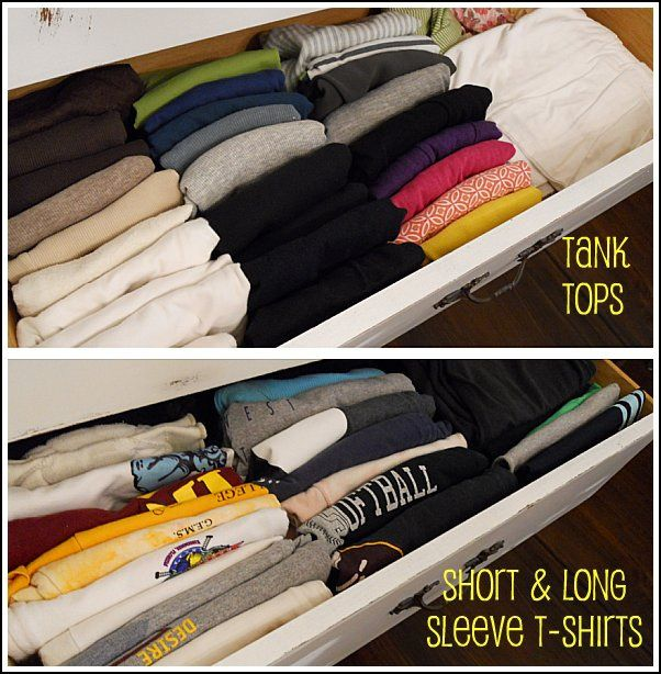 DIY How to Fold and Organize T-shirts in a Drawer