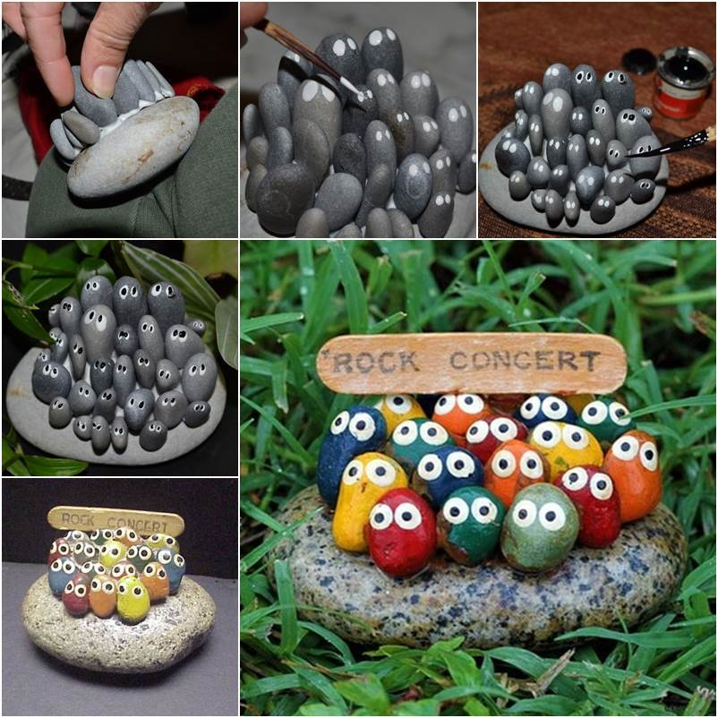 How to DIY Adorable Rock Concert Painted Rock Art