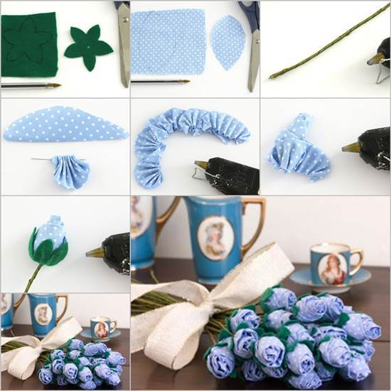 How to DIY Beautiful Fabric Roses Bouquet
